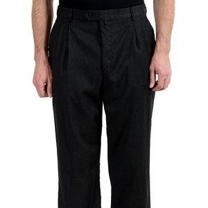 Gianfranco Ferre Gray Wool Pleated Dress Pants